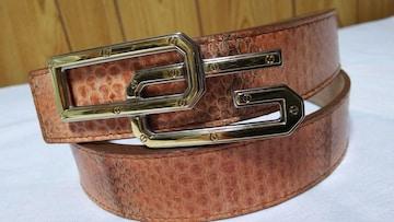 正規レア ドルチェ&ガッバーナ DGロゴコンビバックル パイソン型押しベルト茶 85 D&G