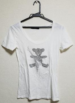 ☆送料無料☆AZUL☆ラインストーン/ベアープリント Tシャツ☆ホワイト F☆美品☆