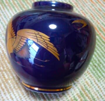 本製 陶器 金長寿双鶴図 花器
