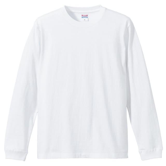 5.6オンス ロングスリーブTシャツ(1.6インチリブ)ホワイト S  < 男性ファッションの