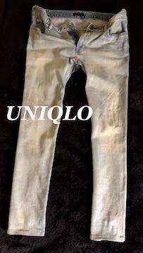 【UNIQLO】ストレッチスリムフィットジーンズ 35(W92cm)/Bleach