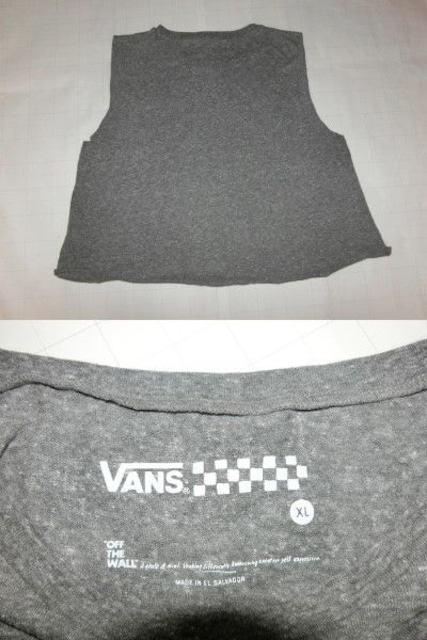 USA購入 【VANS】ロゴプリント ショート丈 タンクトップ US XL < 女性ファッションの