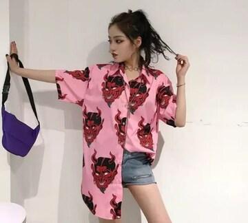 ピンク 鬼 シャツ トップス レターパック フリーサイズ