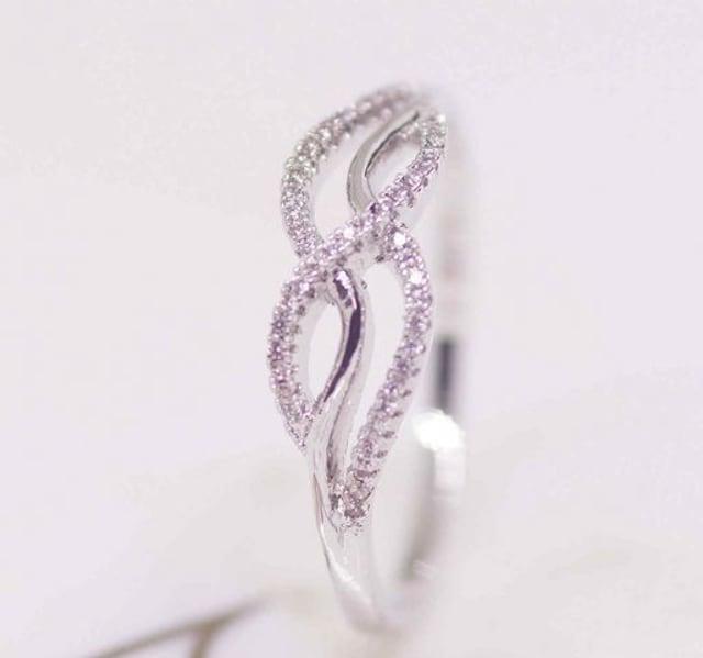 指輪 18K RGP プラチナ 高級 CZ 上品 リング yu1086e < 女性アクセサリー/時計の