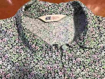 美品★H&M 花柄ブラウス シャツ 黄緑×ピンク