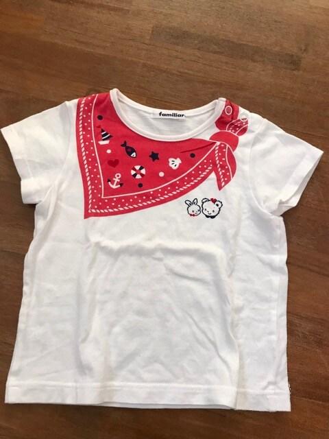 良好『familiar』可愛いプリント柄Tシャツ100 日本製 オススメ  < ブランドの