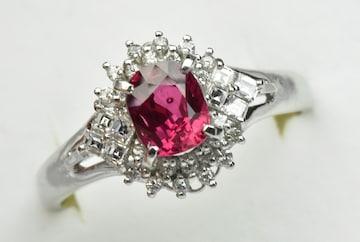 Pt900 ルビー 1.02ct ダイヤモンドリング 16号 指輪