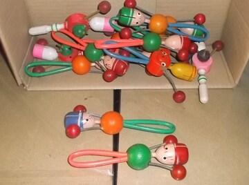 ガラガラ2個昭和レトロ子供あやし駄玩具木製音送料無料