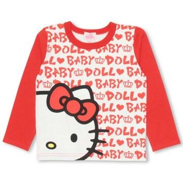 新品BABYDOLL☆100 ハローキティ ロンT ロゴ総柄 Tシャツ ベビードール