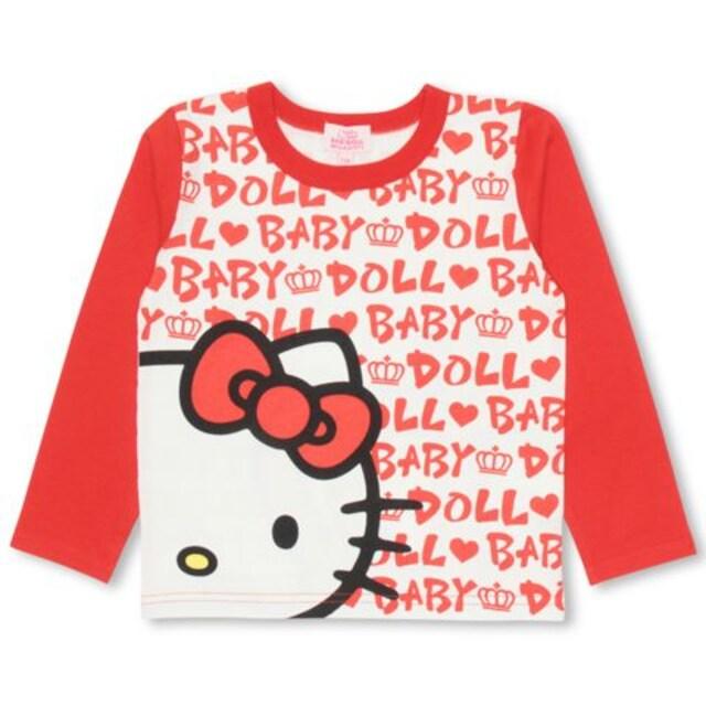 新品BABYDOLL☆100 ハローキティ ロンT ロゴ総柄 Tシャツ ベビードール  < ブランドの
