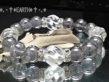 天然石★12ミリSラインツイスト螺旋彫水晶10ミリ銀色爆裂水晶数珠