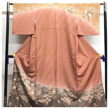 上質 正絹 訪問着 身丈155 裄63.5 華模様 茶系 紋無