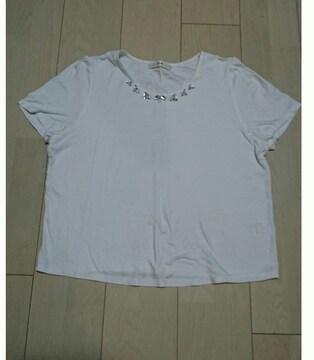 エフデ ビジュー付きTシャツ サイズ13 ホワイト