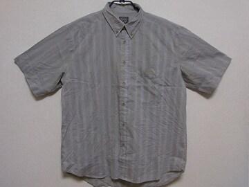 即決USA古着●BRITTANIAストライプデザイン半袖シャツ!アメカジ・ビンテージ