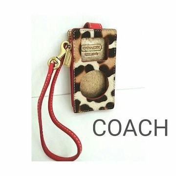 【正規品】COACH iPod ケース ハラコ レザー カバー レオパード