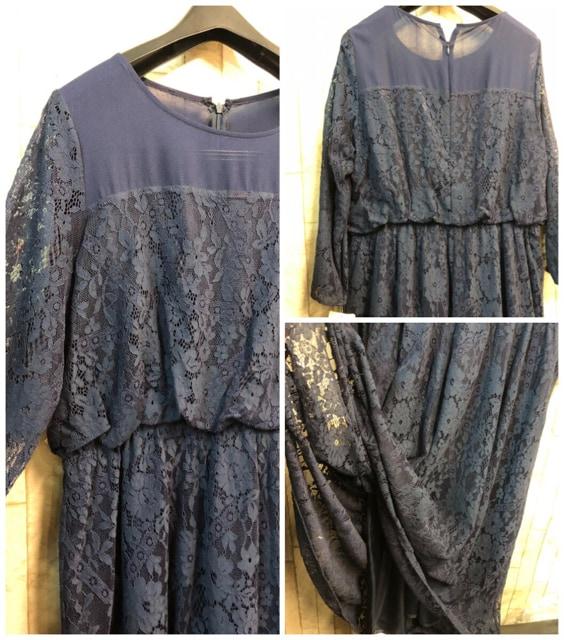 新品☆3Lレース使いのロングワンピースドレス紺14000円をn956 < 女性ファッションの