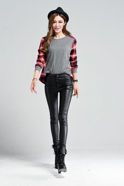 超ストレッチ★スキニー★フェイクレザーパンツ(Lサイズ.黒) < 女性ファッションの