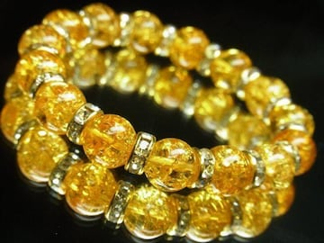 富と繁栄をもたらす シトリンクラックブレスレット 10ミリ天然石数珠