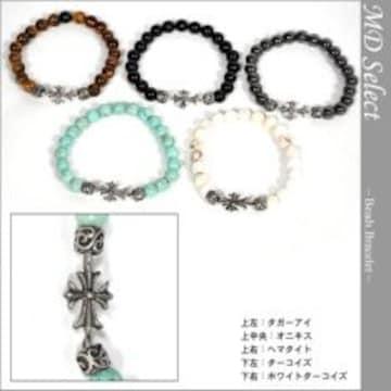 【MIDAS/ミダス セッション】天然石クロス数珠ブレスレットオニキス