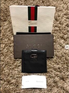 正規GUCCI 黒 ナイロンレザー GGマーク Wホック 財布
