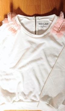 【新品】ピンク肩フリルトレーナー