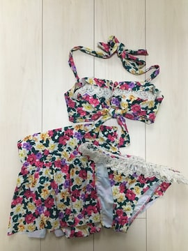 PEAK&PINE ピーク&パイン  ビキニ 水着 スカートセット 花柄 フラワー レース