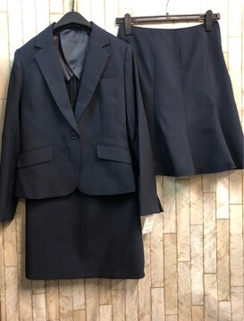 新品☆9号♪紺無地スカート2種付スーツ♪お仕事にも♪52丈☆n899