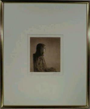 絵画 エッチング 大津英敏『帽子を持つ娘』版画 限定版 真作保証
