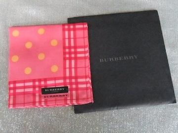 新品◆バーバリー◆ハンカチ 黄色水玉柄 赤チェックふち 赤ピンク生地