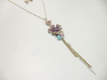 新品ゴスロリ姫系アンティーク調藤色お花ネックレス
