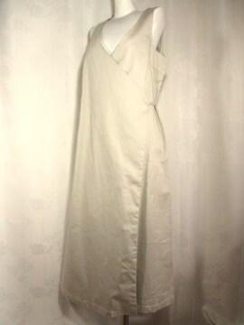 【コムサイズム】ベージュのラッピングジャンパースカート(マタニティ用)