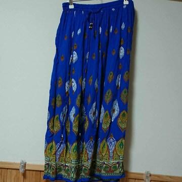 アミナコレクション ブルーペーズリー柄ロングスカート