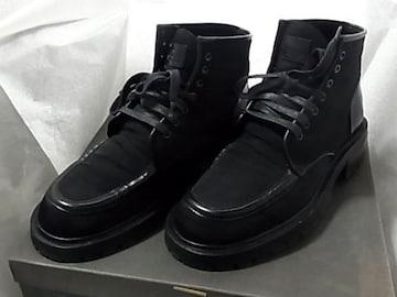 美品グッチGUCCIナイロン レザー ブーツ シューズ靴8 1/2D黒