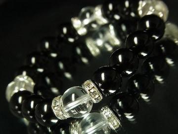 お守り効果も期待♪本水晶クリスタル×黒瑪瑙オニキス数珠ブレス