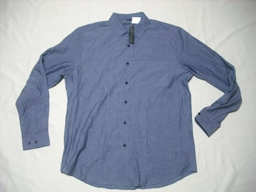 52 男 THEORY セオリー 青 長袖シャツ XL