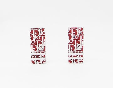 Christian Dior ディオール トロッター プレート イヤリング レッド系【送料無料】