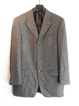 size48ロエベ LOEWE シルク混3釦ジャケット ブラウングレー