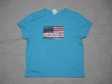 73 女 ラルフローレン 青 半袖Tシャツ L