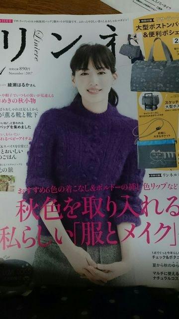 リンネル 2017 11 綾瀬はるか 日光 犬  < タレントグッズの