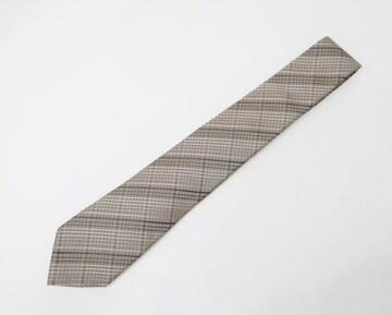 GUCCI グッチ チェック柄 メンズ スリム 細身タイ ネクタイ シルク100% ブラウン系