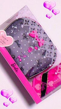 ★新品★バービー★Barbie★グレー&濃ピンク★ポーチセット♪