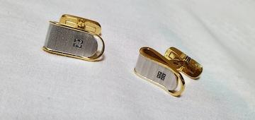 正規未 ジバンシィ クラシック ラウンドスラッシュクリップカフス 金×銀 コンビWカラーボタン
