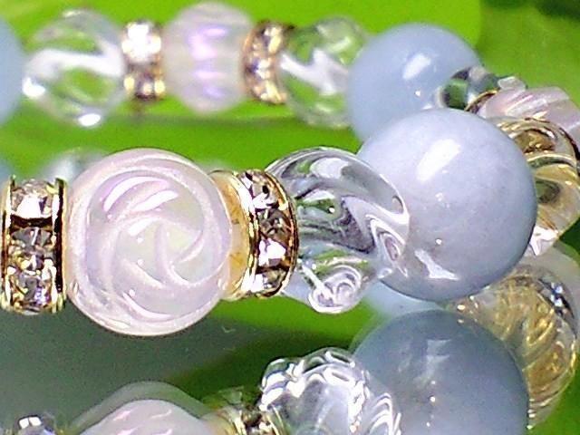 天然石◆薔薇彫ローズクオーツ§トルネ-ド水晶§アクアマリン < 女性アクセサリー/時計の