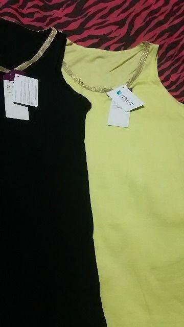 新品 超激カワ衿ゴールドキラキラタンクトップ2枚組(///ω///)♪L < 女性ファッションの
