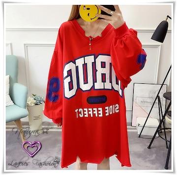 新作★大きいサイズ3L〜8L Bigロゴ&袖ナンバーロゴTワンピ*赤