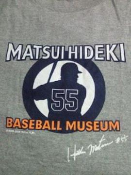 野球 松井秀喜 ベースボール ミュージアム 限定 サイン Tシャツ グレー Mサイズ