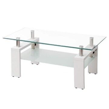 ガラステーブル コーヒーテーブル 幅88cm 強化ガラス