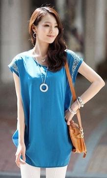 *【4L】大きいサイズ*袖ビジュ&サイド裾シャーリング*チュニック青ブルー即決