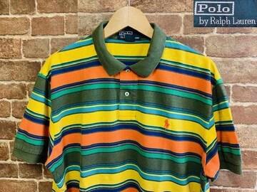 実寸XXL!90's ラルフローレン ボーダー 半袖 ポロシャツ USA 古着 サーファー 19