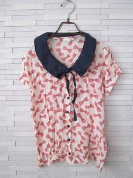 即決/DuKKah/リボン柄襟付きボウタイ半袖ブラウス/白ピンク